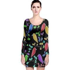 Birds and flowers 2 Long Sleeve Velvet Bodycon Dress