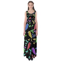 Birds and flowers 2 Empire Waist Maxi Dress