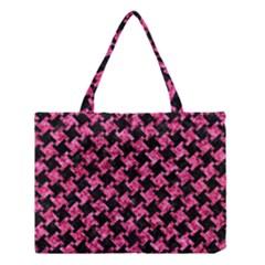Houndstooth2 Black Marble & Pink Marble Medium Tote Bag