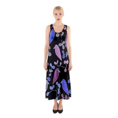 Flowers and birds - blue and purple Sleeveless Maxi Dress