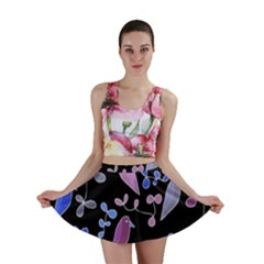 Flowers and birds - blue and purple Mini Skirt