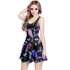 Flowers and birds - blue and purple Reversible Sleeveless Dress