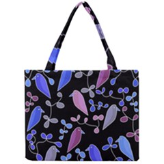 Flowers and birds - blue and purple Mini Tote Bag