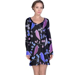 Flowers and birds - blue and purple Long Sleeve Nightdress