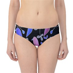 Flowers and birds - blue and purple Hipster Bikini Bottoms
