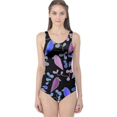 Flowers and birds - blue and purple One Piece Swimsuit