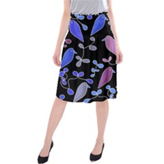 Flowers and birds - blue and purple Midi Beach Skirt