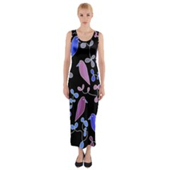 Flowers and birds - blue and purple Fitted Maxi Dress
