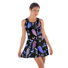 Flowers and birds - blue and purple Cotton Racerback Dress