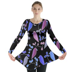 Flowers and birds - blue and purple Long Sleeve Tunic