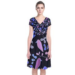 Flowers and birds - blue and purple Short Sleeve Front Wrap Dress