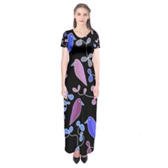 Flowers and birds - blue and purple Short Sleeve Maxi Dress