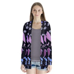 Flowers and birds - blue and purple Cardigans