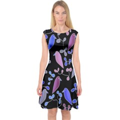 Flowers and birds - blue and purple Capsleeve Midi Dress