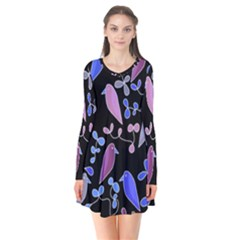 Flowers And Birds   Blue And Purple Flare Dress
