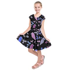 Flowers and birds - blue and purple Kids  Short Sleeve Dress