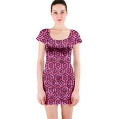 HXG1 BK-PK MARBLE (R) Short Sleeve Bodycon Dress