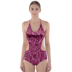 HXG1 BK-PK MARBLE (R) Cut-Out One Piece Swimsuit