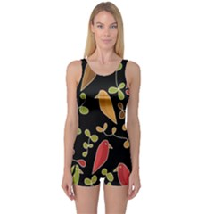 Flowers and birds  One Piece Boyleg Swimsuit