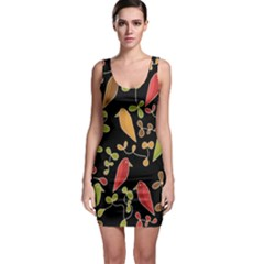 Flowers and birds  Sleeveless Bodycon Dress