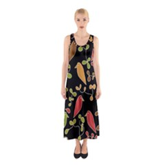 Flowers and birds  Sleeveless Maxi Dress