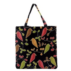 Flowers and birds  Grocery Tote Bag
