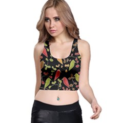Flowers and birds  Racer Back Crop Top