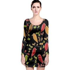 Flowers and birds  Long Sleeve Bodycon Dress
