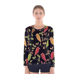 Flowers and birds  Women s Long Sleeve Tee