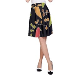 Flowers and birds  A-Line Skirt