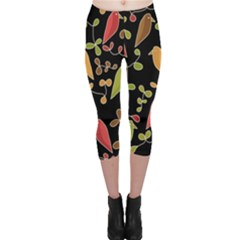 Flowers and birds  Capri Leggings