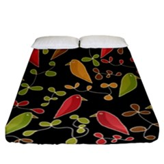 Flowers and birds  Fitted Sheet (California King Size)
