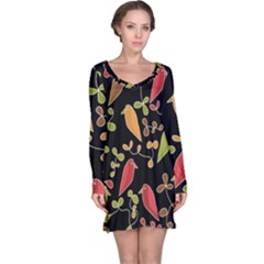 Flowers and birds  Long Sleeve Nightdress