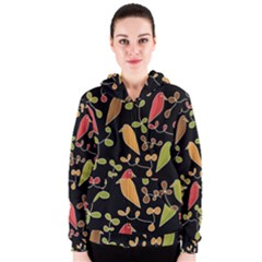 Flowers and birds  Women s Zipper Hoodie