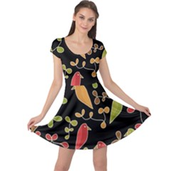 Flowers and birds  Cap Sleeve Dresses