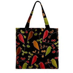 Flowers and birds  Zipper Grocery Tote Bag