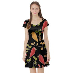 Flowers and birds  Short Sleeve Skater Dress