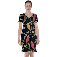 Flowers and birds  Short Sleeve Nightdress