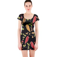 Flowers and birds  Short Sleeve Bodycon Dress