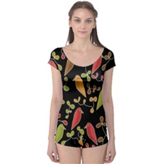 Flowers and birds  Boyleg Leotard