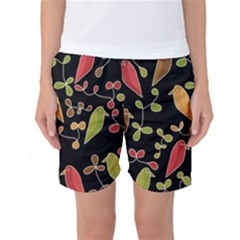 Flowers and birds  Women s Basketball Shorts