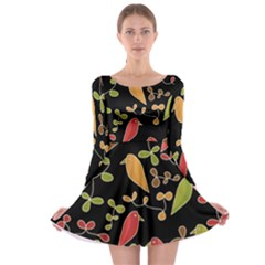 Flowers and birds  Long Sleeve Skater Dress
