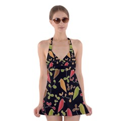 Flowers and birds  Halter Swimsuit Dress