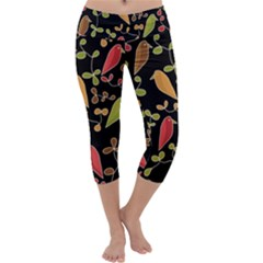 Flowers and birds  Capri Yoga Leggings