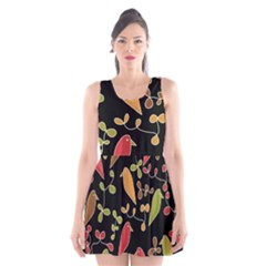 Flowers and birds  Scoop Neck Skater Dress