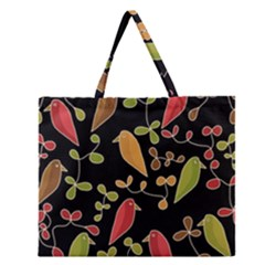 Flowers and birds  Zipper Large Tote Bag