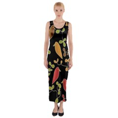 Flowers and birds  Fitted Maxi Dress