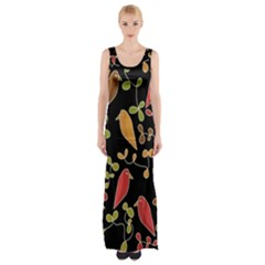 Flowers and birds  Maxi Thigh Split Dress
