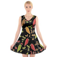 Flowers and birds  V-Neck Sleeveless Skater Dress