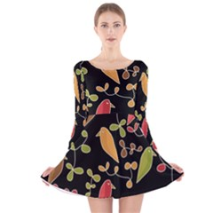 Flowers and birds  Long Sleeve Velvet Skater Dress